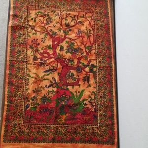 Bright tapestry wall hanging linen
